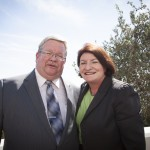 Council Executive Secretary Ron Miller and Assembly Speaker Toni Atkins at the signing of SB 350